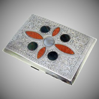 Antique Scottish Agate & sterling silver card case Aide de memoire