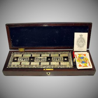 Early 19th Century rosewood & MOP cribbage board in original box