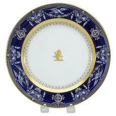 Minton porcelain pate sur pate plate with birds cobalt, gold and white