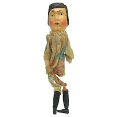 Antique carved painted wood and cloth Punch & Judy show puppet