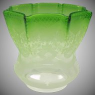 Victorian acid etched green oil lamp shade with flowers