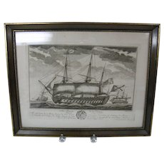 18th or early 19th Century engraving Russian Navy tall ship Fambrini
