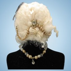Vintage white mohair doll wig with embellishments & necklace