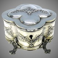 Fancy antique 800 silver footed dresser box