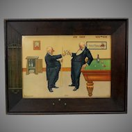 Antique Pool or Billiards print in decorated frame 1904 Kiss
