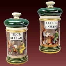 Pair antique Paris painted porcelain Apothecary jars Interior scene store