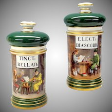 Pair antique Paris painted porcelain Apothecary jars Interior scene store