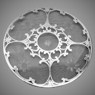 American sterling silver over engraved and cut glass trivet