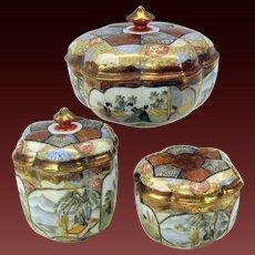 Fine antique Japanese Kutani porcelain 3 piece dresser box set lotus shaped artist signed