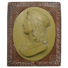Big Grand Tour Pompeiian lava cameo in marble paperweight