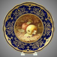 Coalport porcelain cabinet plate with fruit painting apples F.H. Chivers