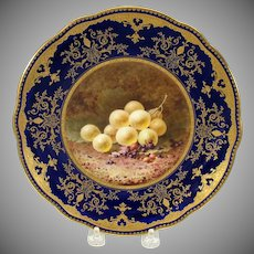 Coalport porcelain artist signed cabinet plate with grapes F.H.Chivers