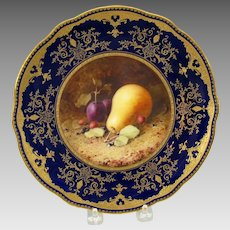 Coalport porcelain cabinet plate with fruit painting Pear F.H. Chivers