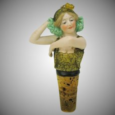 Antique German bisque bathing beauty Flapper dancer bottle stopper