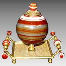Victorian striped agate and fine gilded ball form inkwell