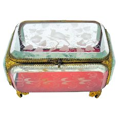 Big Victorian engraved glass and ormolu dresser box casket with bird in leaves