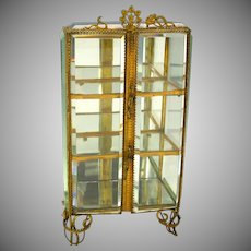 Antique Fashion doll miniature beveled glass vitrine display cabinet