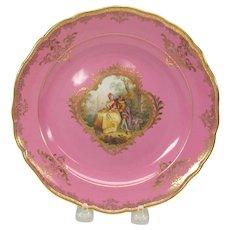 Meissen painted porcelain portrait cabinet plate pink & gold #2