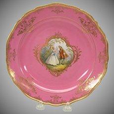 Meissen painted porcelain portrait cabinet plate pink & gold #3
