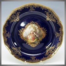 Meissen painted porcelain portrait cabinet plate cobalt & gold #4