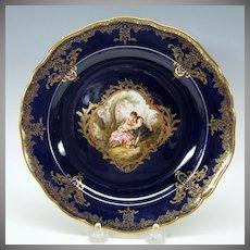 Meissen painted porcelain portrait cabinet plate cobalt & gold #5