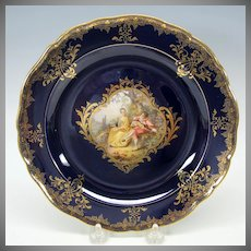 Meissen painted porcelain portrait cabinet plate cobalt & gold #6