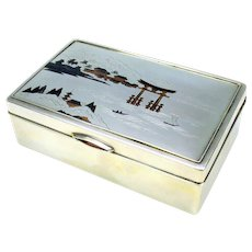 Vintage Japanese sterling silver cigar box artist signed mixed metals