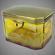 Antique engraved yellow to clear Bohemian glass dresser box casket with dog