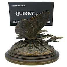 Victorian mechanical bronze Butterfly card holder-calling or business