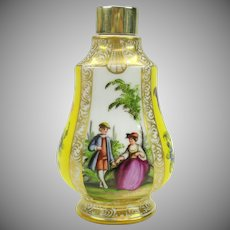 Dresden porcelain hand painted perfume bottle with sterling cap marked AR