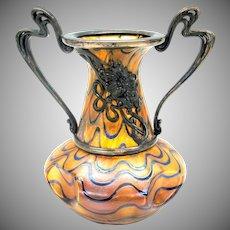 Art Nouveau art glass cabinet vase with metal trim frame