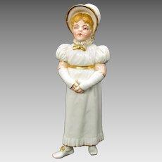 1880's Royal Worcester porcelain Kate Greenaway girl sugar shaker