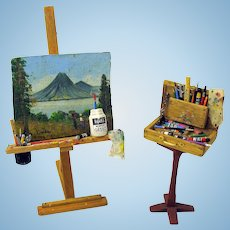 Artisan Marquis Miniatures 1:12 scale dollhouse miniature Artists easel, painting and paint box 2001