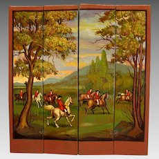 Vintage Artisan Natasha Beshenkovsky 1:12 scale dollhouse miniature painted screen-Hunt scene