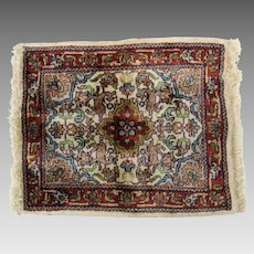 Vintage woven silk miniature oriental rug for dollhouse  1:12 scale