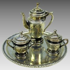 O'Meara sterling silver Artisan 1:12 scale tea or coffee set on tray dollhouse miniature