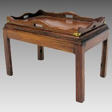 Vintage Artisan DJ designs 1:12 scale dollhouse miniature mahogany butler tray with table stand