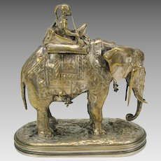 19th Century silvered bronze box-bedecked Elephant with Native Indian rider smoking pipe