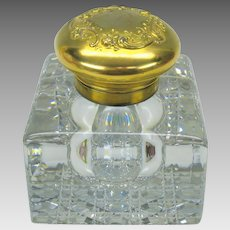 Monumental antique cut crystal glass and 14k gold topped inkwell