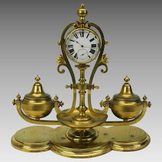 Fine Victorian turned brass gilded inkwell with fine double dial clock-working
