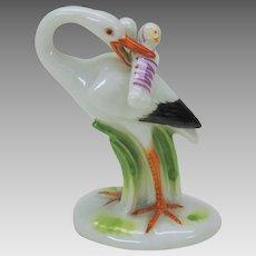 Great whimsical antique Meissen porcelain cabinet figure Stork delivering babies