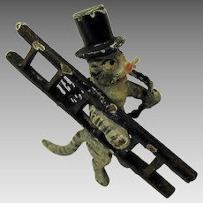 Early miniature Vienna bronze cat Chimney Sweep cold painted