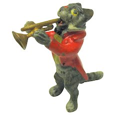Antique miniature Vienna bronze cat playing trumpet Band member