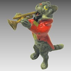 Antique miniature Vienna bronze cat playing trumpet Band member
