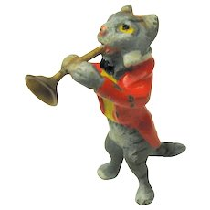 Antique Vienna bronze cold painted cat band member playing a horn
