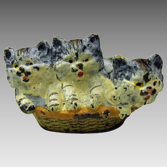 Antique Vienna bronze cold painted basket of kittens cabinet figure