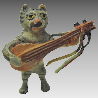 Vintage Vienna bronze cold painted cat playing mandolin cabinet figure