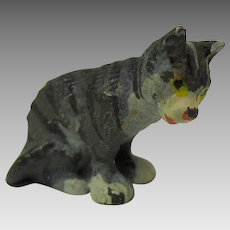 Vintage Austrian cold painted miniature bronze seated cat