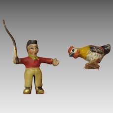 Vintage Austrian cold painted miniature bronze Boy with chicken