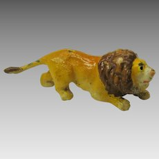 Vintage Austrian miniature cold painted bronze crouching Lion #2